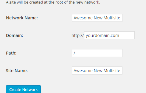 The screen for creating a new Multisite network.
